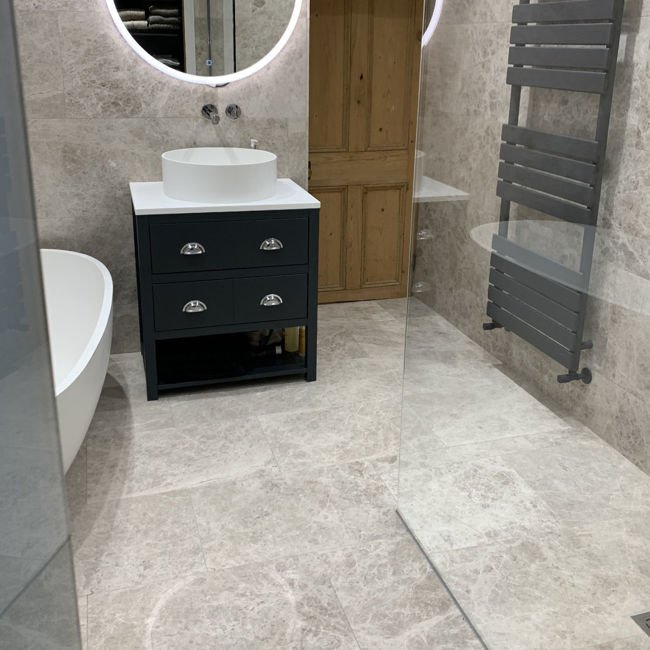 Picture of Argento Silver Limestone Tiles - Honed