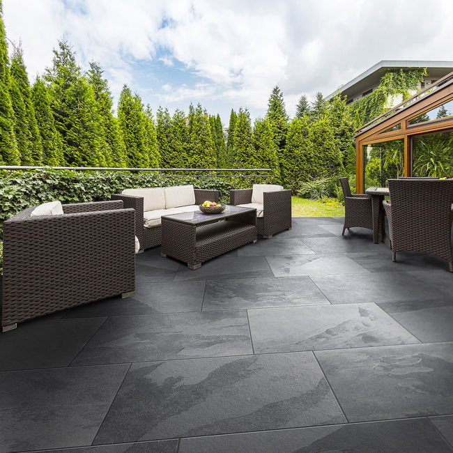 Outdoor Paving - Mimica Slate Nero Porcelain Paving Slabs | StoneSuperstore
