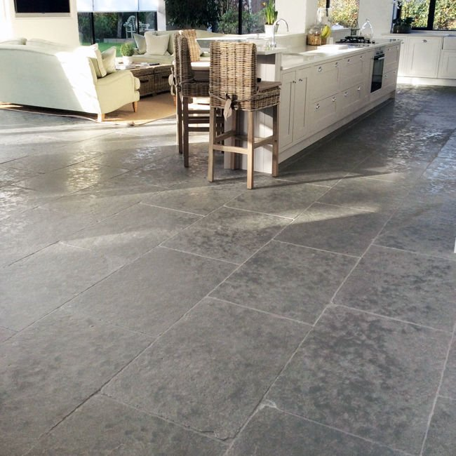 Picture of Taj Grey Limestone Tiles - Tumbled & Brushed