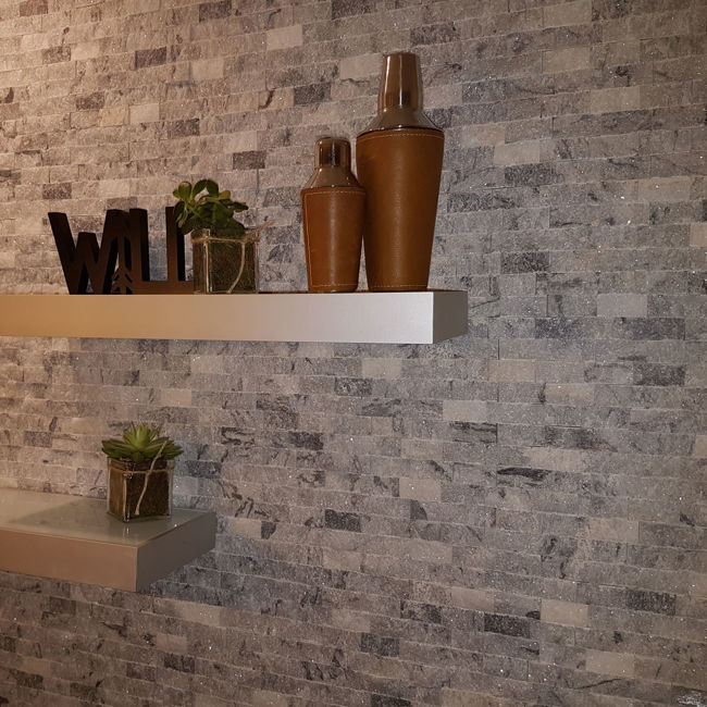 Picture of White & Grey Split Face Marble Tiles