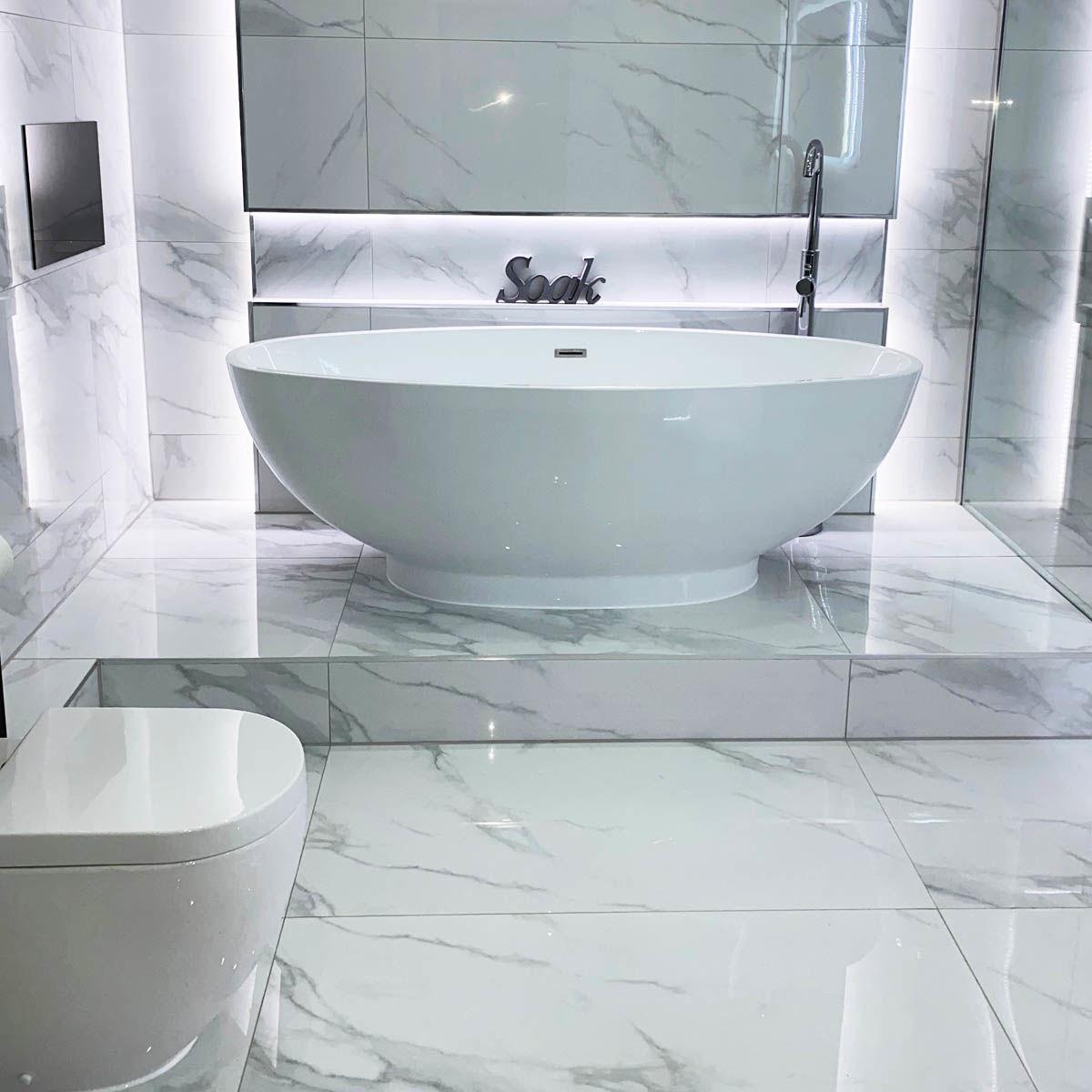 timeless white carrara polished porcelain tiles