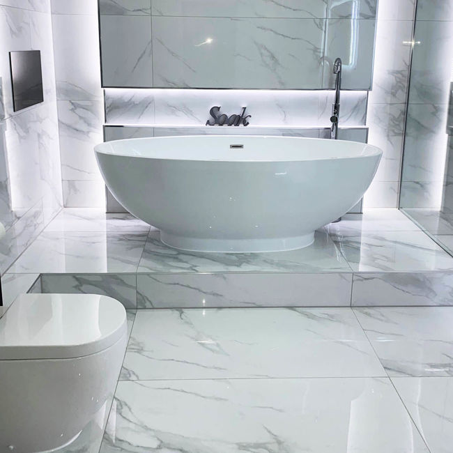 Picture of Timeless White Carrara Polished Porcelain Tiles