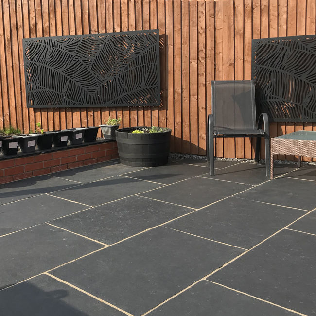 Picture of Midnight Black Limestone 600x900mm Calibrated Paving Slabs